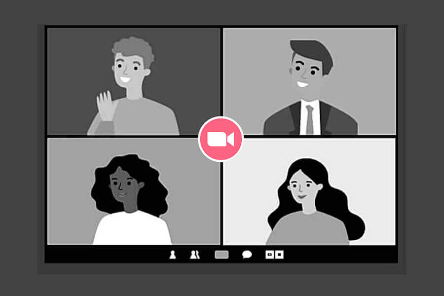 Cartoon of four people on a Zoom call.