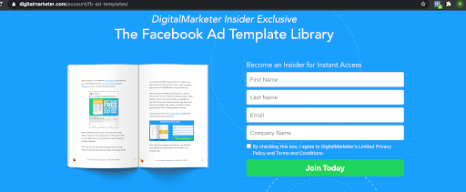 The facbook ad template library