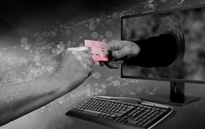 hand accepting online credit card
